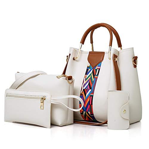 (Women Handbag Set 4 in 1 Soft PU Leather Top Handle Bag, Tote Bag, Shoulder Bags Crossbody Bag Wallet Purse Set (White))