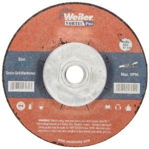 Weiler Tiger 5/8-11 Arbor, 1/4 Thickness, 4-1/2 Diameter, A24R Grit, Type 27 Grinding Wheel by Weiler