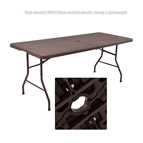 Commercial High Density Plastic Rattan Design Folding Table Indoor-Outdoor Laptop Desk School Office Picnic Camp Party Lightweight Portable Dining Table - 6ft Brown #1360