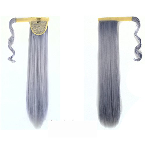 Real New Clip in Human Hair Extension Straight Pony Tail Wrap Around Ponytail -