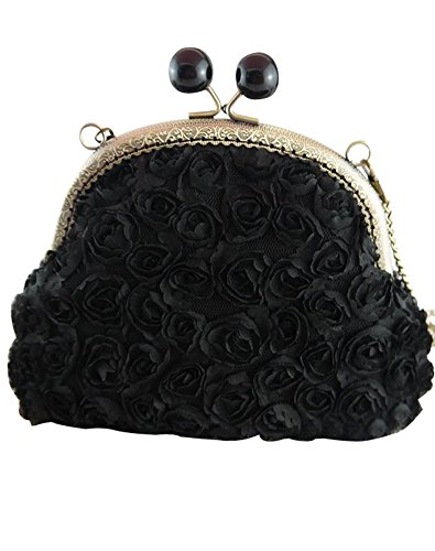 Castle Rose Cocktail Bag Evening Fairy Clutch Cloths Stereo Women's Black rC7BraRq
