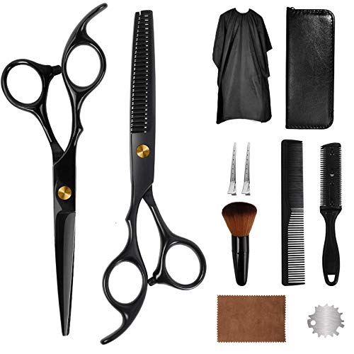 AIRERA 11 Pieces Hair Cutting Scissors Kit, Japanese Stainless Steel Hairdressing Shears Set Thinning Texturizing Scissors for Barber Salon Home with Wipe Cloth, Hair Razor Comb, Clips, Brush(Black)