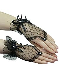 Rokou Sexy Fingerless Pearl Lace Satin Bridal Gloves for Bride Wedding Party (Black)