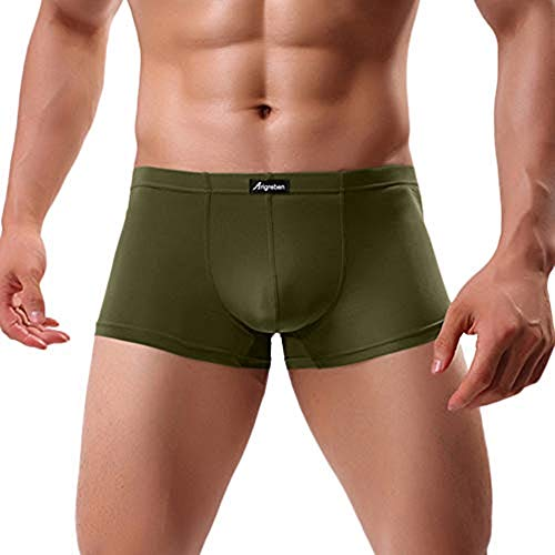 GOVOW Autumn Men Boxer Briefs Sexy Underwear Letter Printed Shorts Bulge Pouch Underpants(US:M/CN:XL,Army Green)
