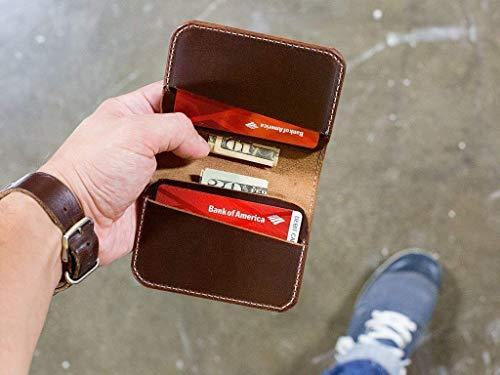 Minimal leather wallet, Card wallet, Card holder, Brown Dublin wallet, Brown Horween leather, Wallet