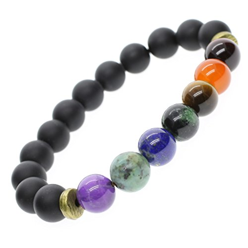 (AmorWing Natural Stones Tibetan Mala Beads 7 Chakra Black Onyx Healing Bracelet 8mm S)