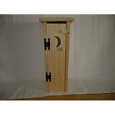 Pine Outhouse Toliet Paper Holder. This Unfinished Outhouse Holds 4 Rolls of Toliet Paper. Adds a Rustic Charm to Your Bathroom Decor While Hiding Those Rolls of Toliet Paper. Measures: 7  X 7  X 20  Tall. With It Being Unfinished You Can Decorate It Any Way You Want to Fit Your Bathroom Decor. It Also Looks Great Unfinished!