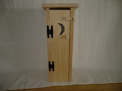 Pine Outhouse Toliet Paper Holder. This Unfinished Outhouse Holds 4 Rolls of Toliet Paper. Adds a Rustic Charm to Your Bathroom Decor While Hiding Those Rolls of Toliet Paper. Measures: 7
