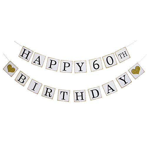 Happy 60th Birthday Banner - Gold Glitter Heart for 60 Years Birthday Party Decoration Bunting White -