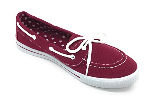 Berry Sneaker On Round Flat up Shoe EASY21 Comfy Slip Toe Blue Burgundy Canvas Boat Lace Tennis A0Hwqd
