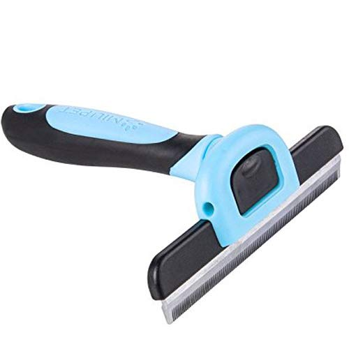 PET Deshedding Tool&Grooming Brush for Dogs, 125mm Wide Stainless Steel Safety Blade. Dramatically Reduces Shedding in Minutes (Blue)- by MIU PET ()