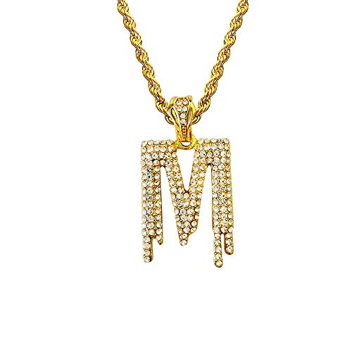 HH Bling Empire Hip Hop Iced Out Bling Crystal Bubble Dripping Initials A to Z Rope Chain 20 Inch (Dripping M)