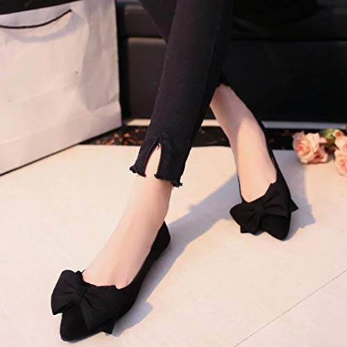 Bowknot Single Slip Black Heel Women Flock Fashion Shoes FALAIDUO Shoes On Flat Ponited Toe Shallow Low qOE1cT