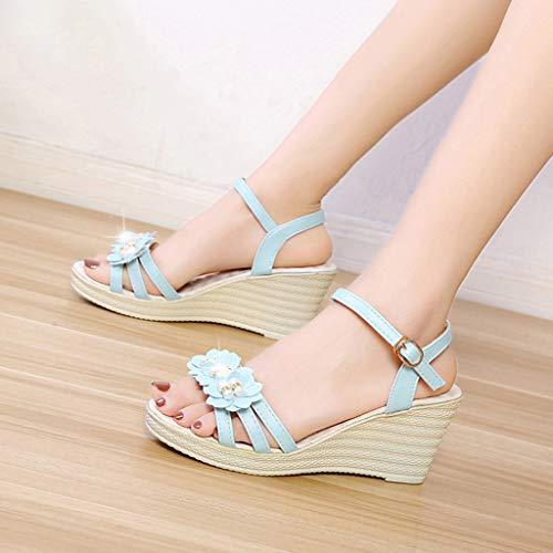 Tiras De Zapatos Sólido Fiestas Sunnsean Mujer Sandalias Moda Chicas Playa Plantaformas Azul Cuña Con Para Flores Casual Decorado Calzados TwTq1Ff