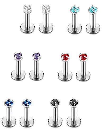 (Jstyle 12 Pcs a Set 316L Stainless Steel 16G 2-4mm CZ Nose Piercing Labret Monroe Lip Rings Helix Tragus Cartilage Ear Piercings Studs 6mm Bar Length)
