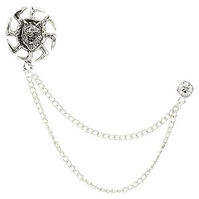 6c79794ed0 Buy TRIPIN Silver Classic Lion Lapel PIN Collar Chain Brooch ...