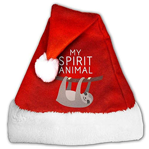 Red and White Christmas Hat, Naughty My Spirit Animal is A Sloth Candy Hat for Childrens and Adults (2 PCS) (Pimp Hat Velvet)
