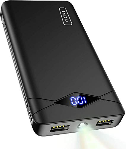INIU Power Bank, LED Display 10000mAh Portable Charger, Dual 3A High-Speed 2 USB Ports with Flashlight Battery Pack…  
