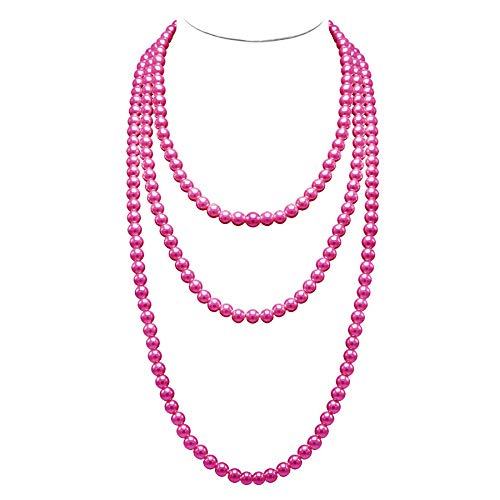 T-Doreen Long Pearl Necklace for Women Girls 69 Inch Layered Strands Necklace (Fuschia)