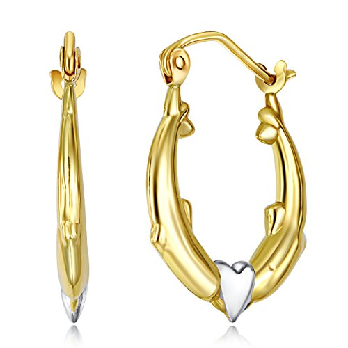 (Wellingsale Ladies 14k Two Tone White and Yellow Gold Polished Dolphin Heart Hoop Earrings (17 x 17mm))