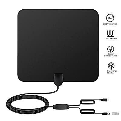 80 Miles Range TV Antenna, Indoor USB Powered Supply Digital HDTV TV Antenna with Built-in Amplifier Signal Booster and 13.1Ft Coax Cable - Black