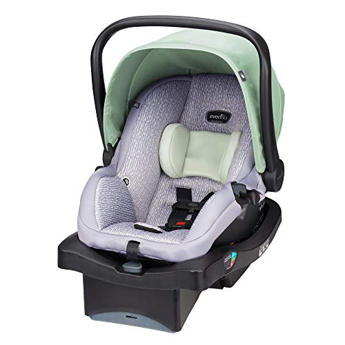 Evenflo LiteMax 35 Infant Car Seat, Easy to Install, Versatile & Convenient, Meets or Exceeds All Federal Safety Standards, Machine-Washable Pads, Full-Coverage Canopy, Bamboo Leaf Green