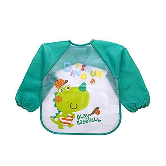 BabyGo Sleeves Washable Waterproof Feeding Bib for Babies and Kids -1 Piece (Random Color)