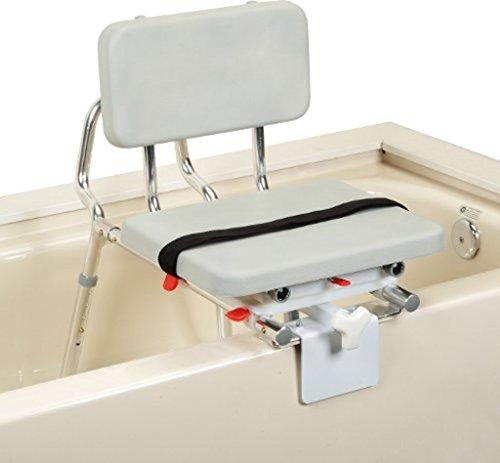 Tub Mount Sliding Transfer Bench with Swivel Padded Seat - Model (Tub Mount Sliding Swivel)