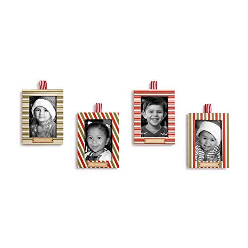 Redrock Traditions Photo Frame Candy Striped 4 x 3 Paperboard Christmas Ornament Set of -