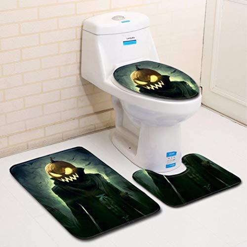 Hot Sale!DEESEE(TM)Halloween Pumpkin lantern Toilet Seat Cover and Rug Bathroom Set Halloween Decor (C) -