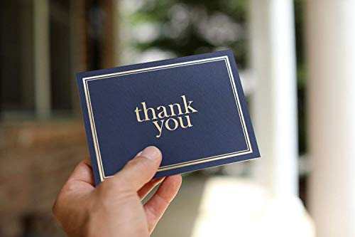 100 Thank You Cards Bulk Thank You Notes Navy Blue Gold Blank