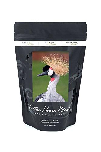 African Crown Crane (8oz Whole Bean Small Batch Artisan Coffee - Bold & Strong Medium Dark Roast w/ Artwork) (Crown Crane)