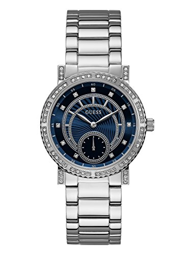 GUESS Women's Stainless Steel Crystal Casual Watch, Color: Silver-Tone (Model: U1006L1) by GUESS