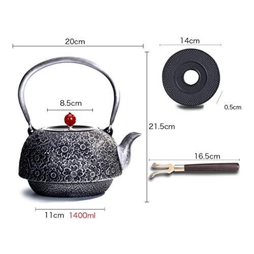 NIUYUKE Japanese Cast Iron Teapot Set, Trivet Included, Cherry Blossoms Pattern 1.4 Litre