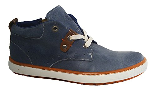 Bullboxer Leder Sneaker Halbschuhe Reißverschluss jeans blau