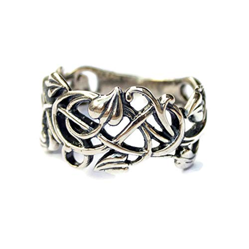 Amazon.com  Sterling Silver Filigree Vintage style Rings for Women Swirl  Vine Leaf Ring Elvish Elf Floral Jewelry  Handmade 15c6d4105