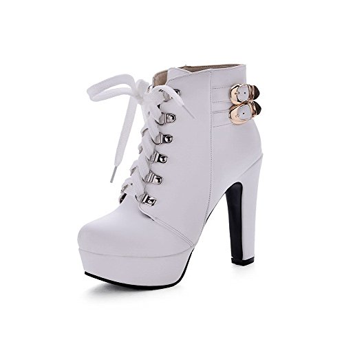 AllhqFashion Womens Ankle-high Lace-Up Soft Material High-Heels Round Closed Toe Boots White
