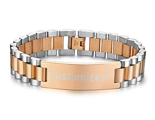 PJ Jewelry Personalized Engrave Men's Stainless Steel Chain Classic Watch Band ID Tag Identification Bracelets for Men