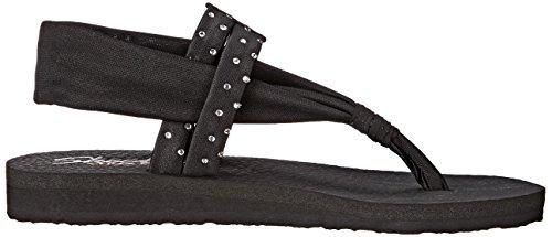 Skechers MeditationStudio Kicks, Women's Open Toe Sandals Black Rhinestone