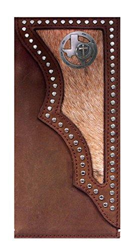 Custom 3D Belt Co. Texas Christian Long Rodeo Checkbook Wallet Hair on Hide Brown New