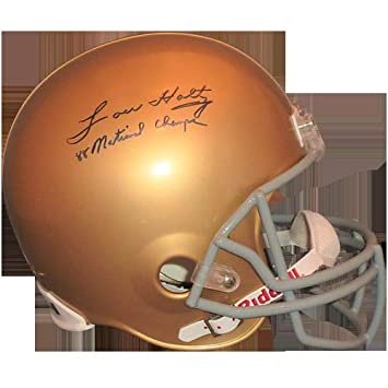 0651b214eb8 Amazon.com: Lou Holtz Autographed Signed Auto Notre Dame Fighting Irish  Deluxe Full-Size Replica Helmet Steiner - Certified Authentic: Sports  Collectibles