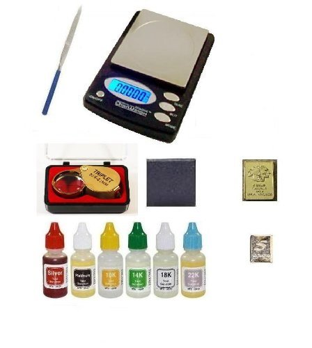 PuriTEST Pack of Test Acids Plus Electronic Scale Machine, Diamond Loupe, Silver and Gold Bars and More! ()