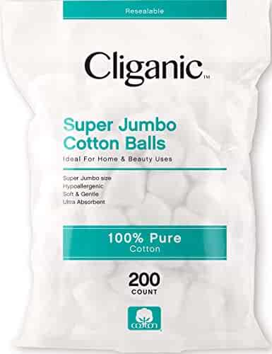 Cliganic SUPER JUMBO Cotton Balls, 200 Count - Hypoallergenic, Absorbent, Large Size, 100% Pure