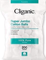 Cliganic SUPER JUMBO Cotton Balls, 200 C...