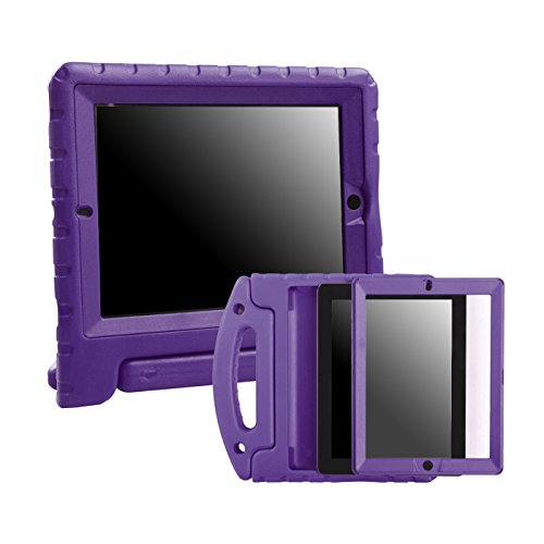HDE iPad 2 3 4 Bumper Case for Kids Shockproof Hard Cover Handle Stand with Built in Screen Protector for Apple iPad 2nd 3rd 4th Generation (Purple)