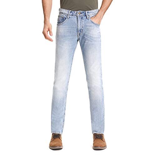 D-ID Men's Slim Fit Jeans Light Blue Faded Slim-Fit Straight Original Fit Jean 33X30 ()