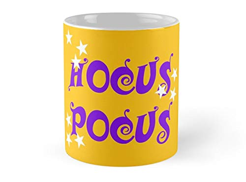 Hued Mia Mug Halloween Witch Magic Violet Hocus Pocus text with white stars - 11oz Mug - Features wraparound prints - Dishwasher safe - Made from Ceramic - Best gift for family friends (Hocus Pocus Set Magic)