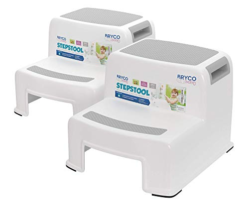 Bryco Baby Toddler Step Stool - Set of Two Plastic Stools - Two Step Kids Design - Portable - Great for Childrens Potty Training in Bathroom or Reaching Counter Level in Kitchen