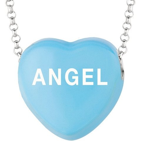 """Sweethearts® Blue """"ANGEL"""" Heart on 16"""" Sterling Silver Necklace"""