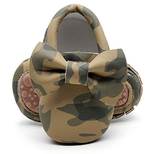 HONGTEYA Baby Moccasins with Rubber Sole&Soft Sole - Flower Print PU Leather Tassel Bow Girls Ballet Dress Shoes for Toddler (6-12Months, 12.5cm,5.5 M US Toddler, Olive) ()